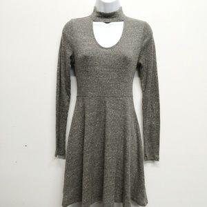 Altar'd State Gray Keyhole Ribbed Skater Dress S